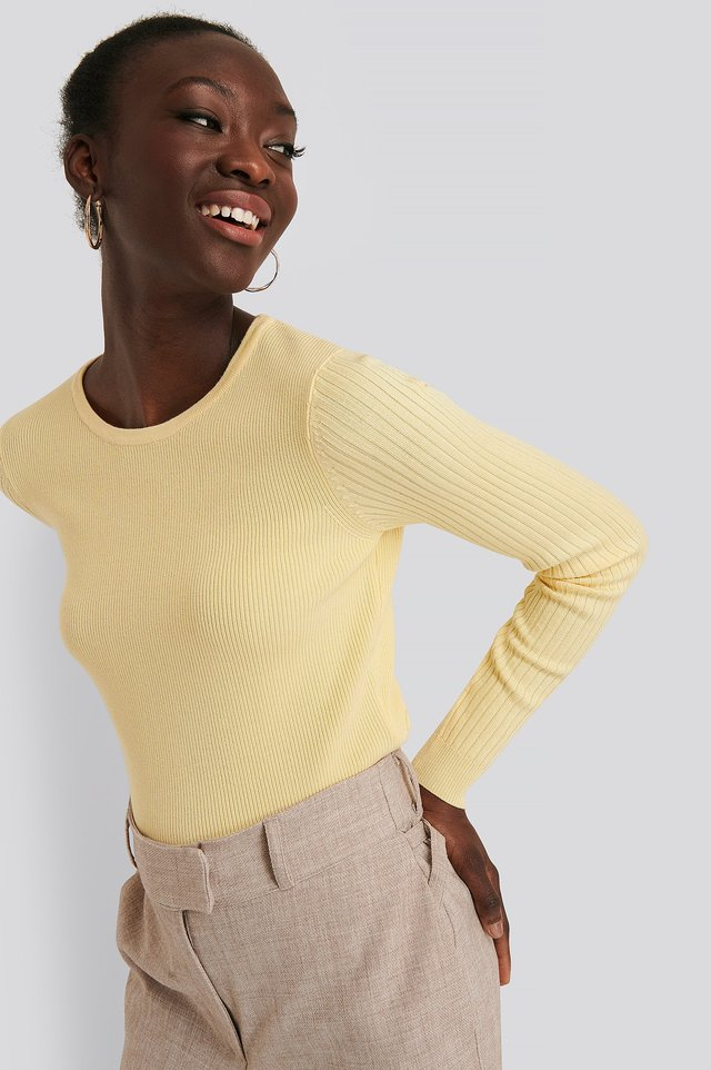 Dusty Yellow Ribbed Knitted Cropped Sweater