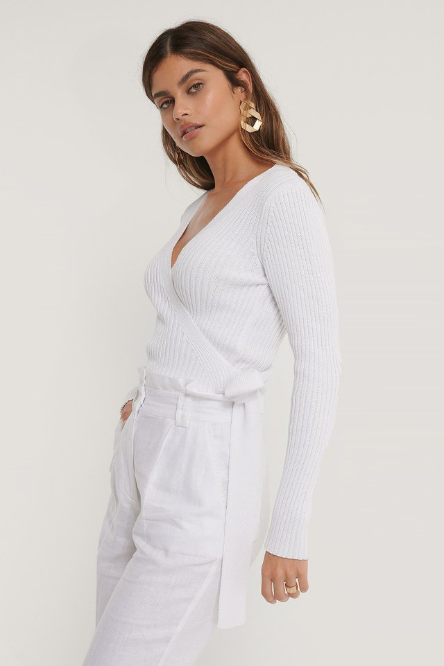 Organic Ribbed Knitted Overlap Sweater White