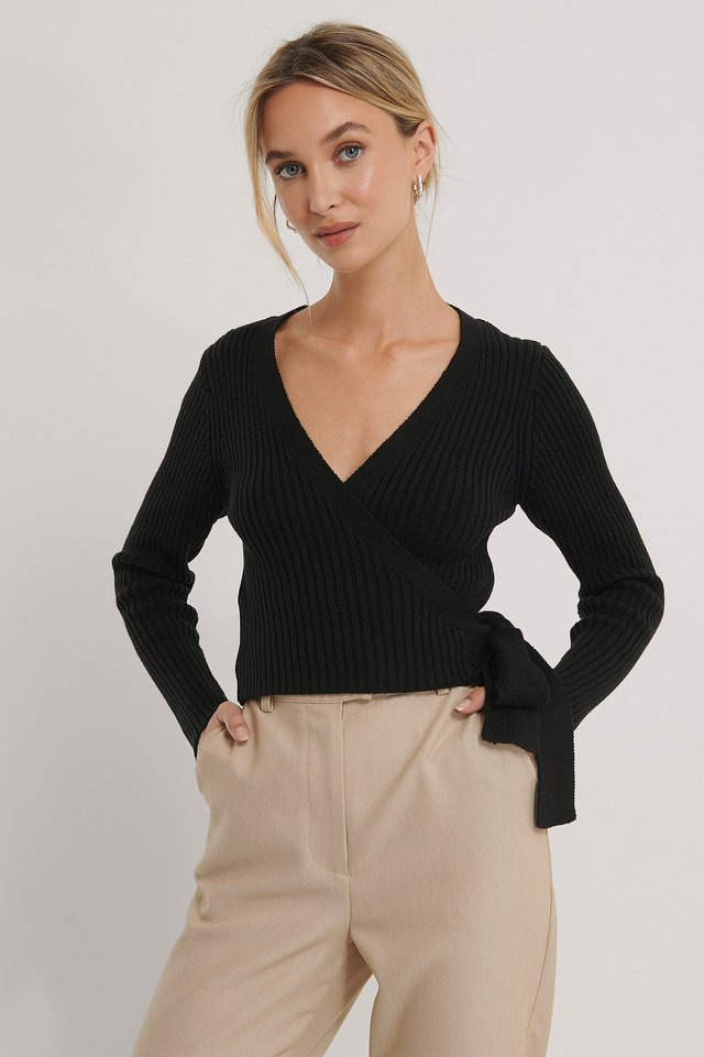 Organic Ribbed Knitted Overlap Sweater Black