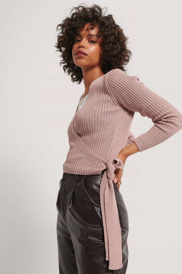 Dusty Pink Organic Ribbed Knitted Overlap Sweater