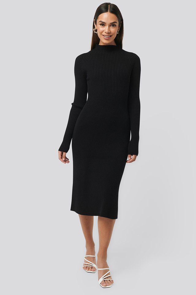 Ribbed Knitted Polo Dress Black