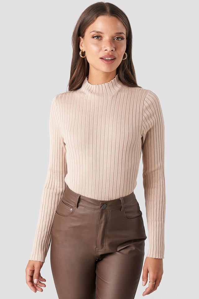 Light Beige Ribbed Knitted Polo Sweater