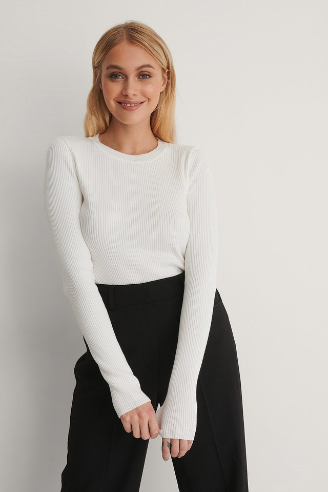 White Ribbed Knitted Round Neck Sweater