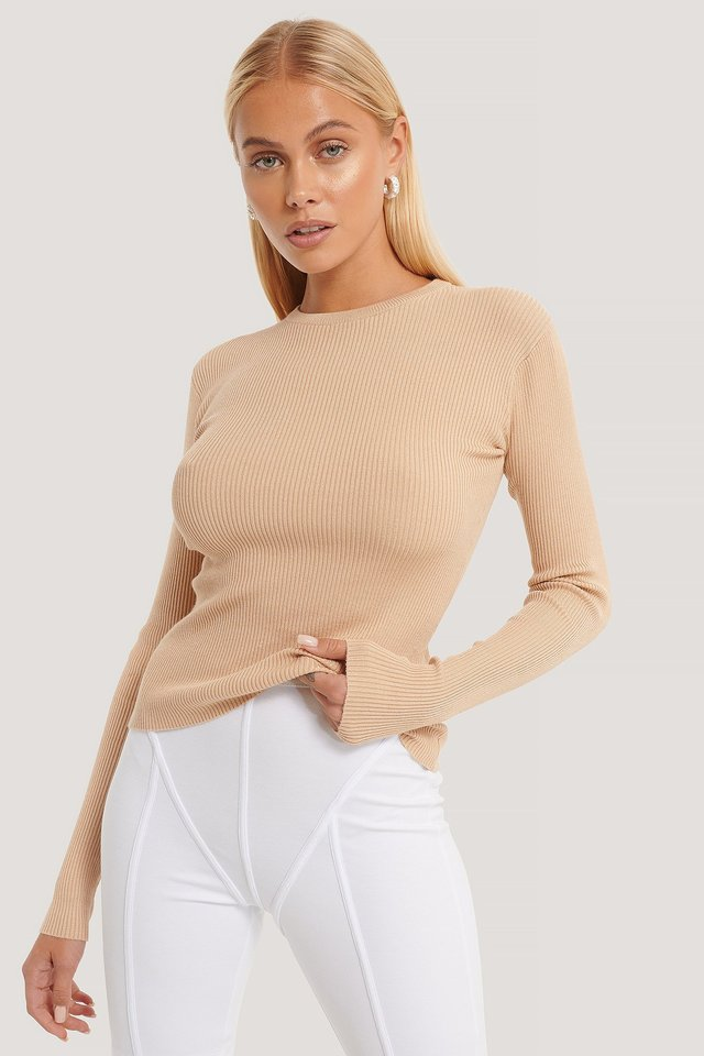 Ribbed Knitted Round Neck Sweater Beige