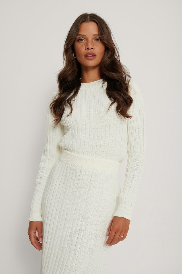 Ribbed Knitted Round Neck Sweater White