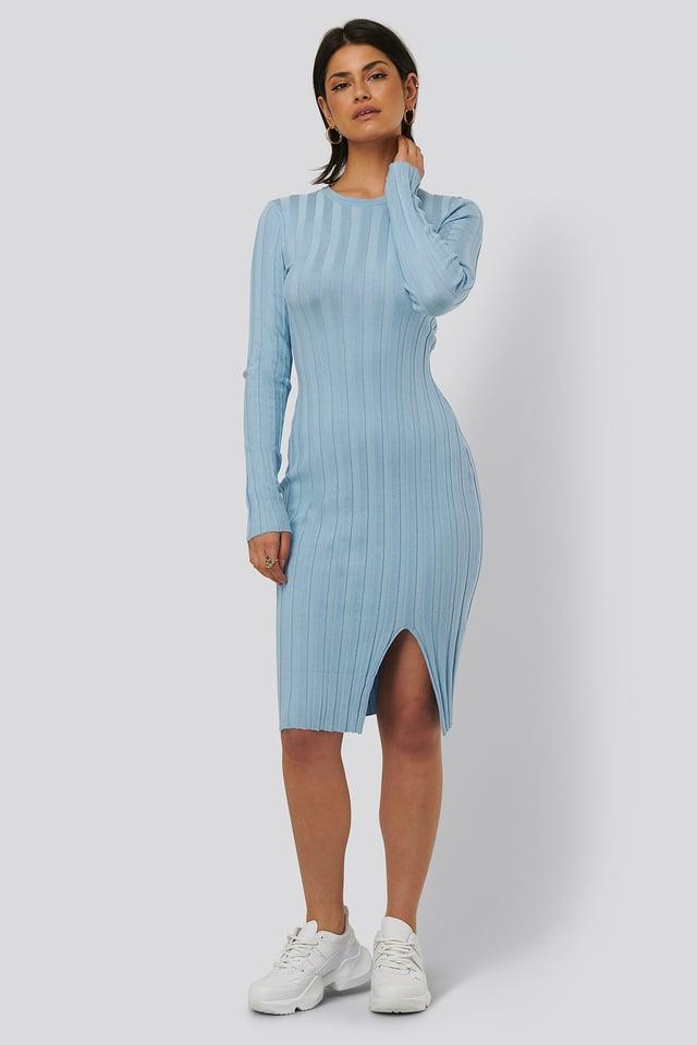 Geripptes Midi-Kleid Blue