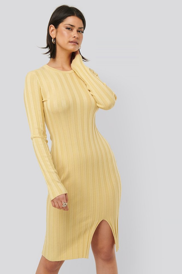 Dusty Yellow Ribbed Knitted Slit Dress