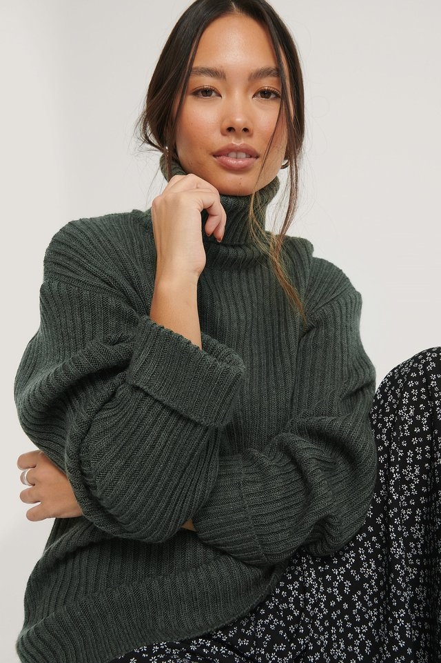 Dark Green Ribbed Knitted Turtleneck Side Slit Sweater