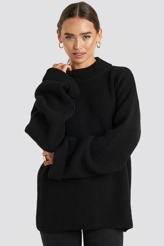 Black Ribbed Knitted Turtleneck Sweater