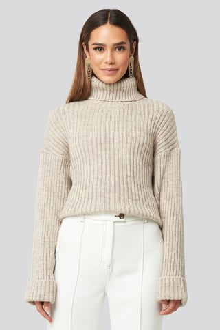 Beige Ribbed Knitted Turtleneck Sweater