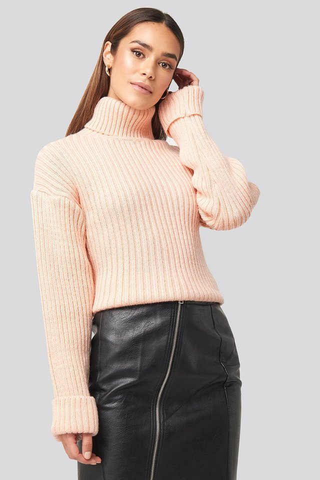 Ribbed Knitted Turtleneck Sweater Dusty Light Pink