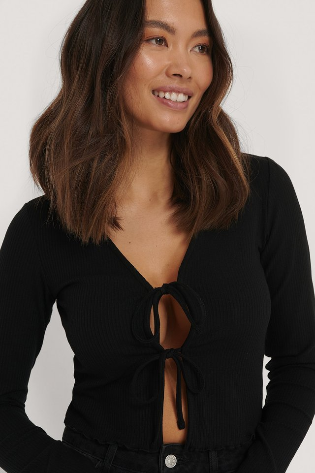 Black Ribbed Knot Top