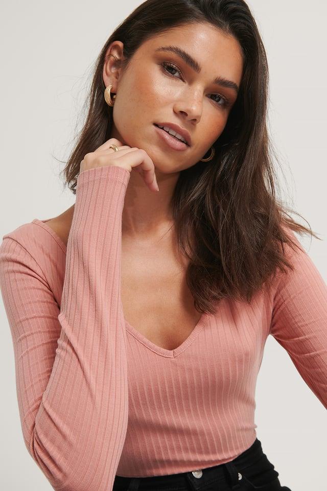 Dark Pink Ribbed Long Sleeve V-Neck Top
