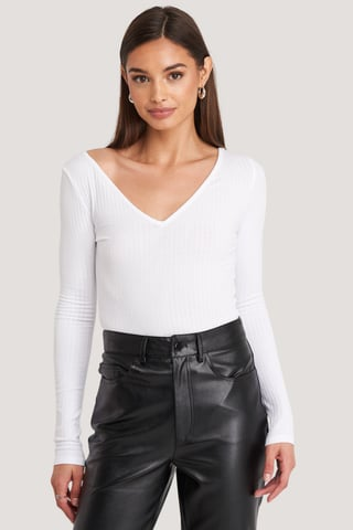 White Ribbed Long Sleeve V-Neck Top