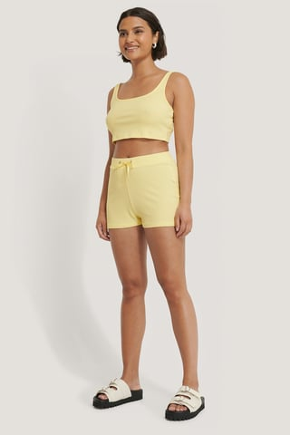 Yellow Shorts Cortos Casuales Acanalados