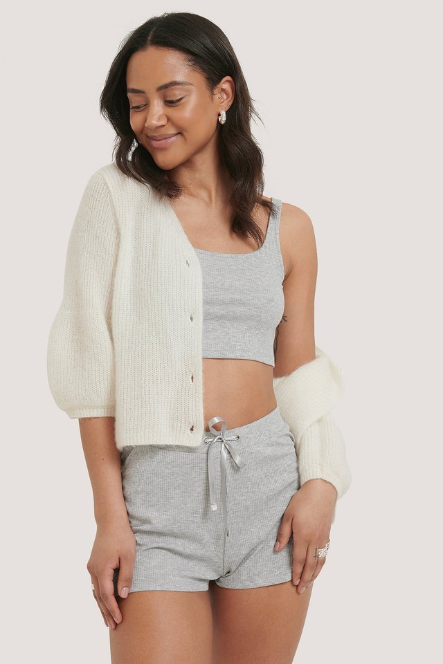 Ribbed Lounge Cropped Shorts Grey Melange
