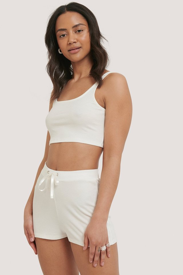 Ribbed Lounge Cropped Shorts Offwhite