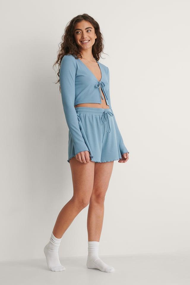 Blue Ribbed Loungewear Shorts