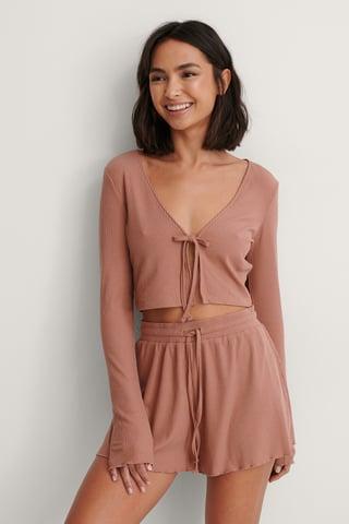 Dusty Pink Ribbed Loungewear Shorts
