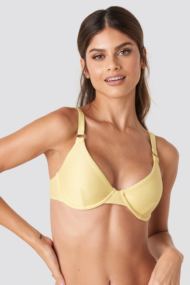 Ribbed O-ring Bikini Cup Bra Light Yellow