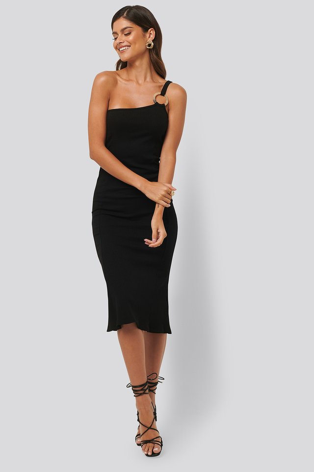 Ribbed One Shoulder Dress Black