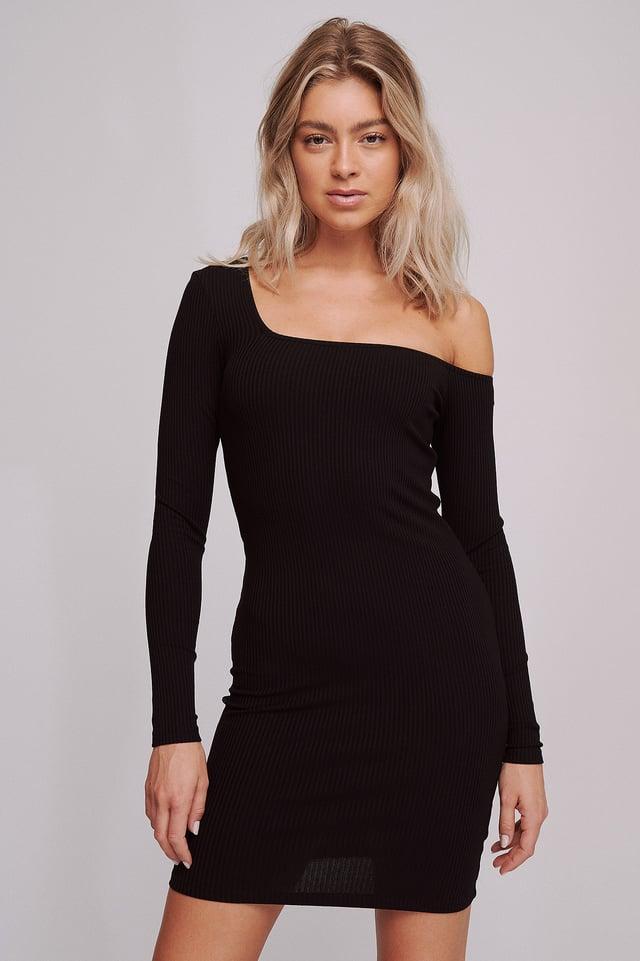 Einseitig Schulterfreies Kleid Black