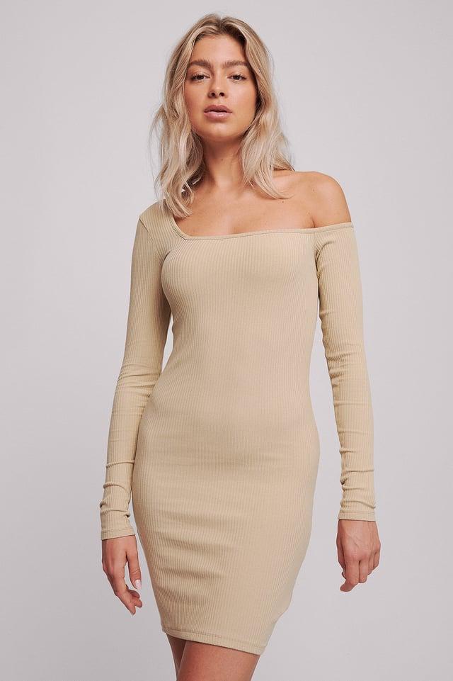 Beige Einseitig Schulterfreies Kleid
