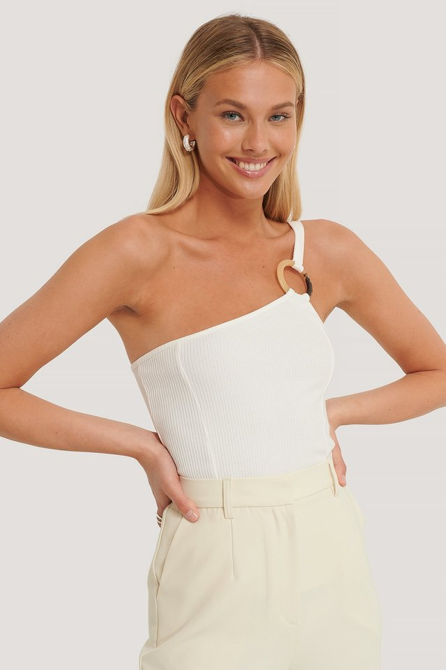 Ribbed One Shoulder Top Offwhite