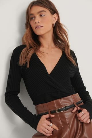 Black Ribbed Overlap Knitted Long Sleeve Sweater
