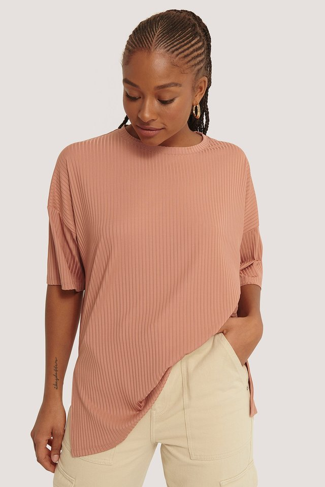 Ribbed Oversized Tee Dusty Rose