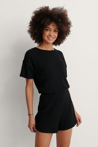 Black Ribbed Playsuit Pyjamas