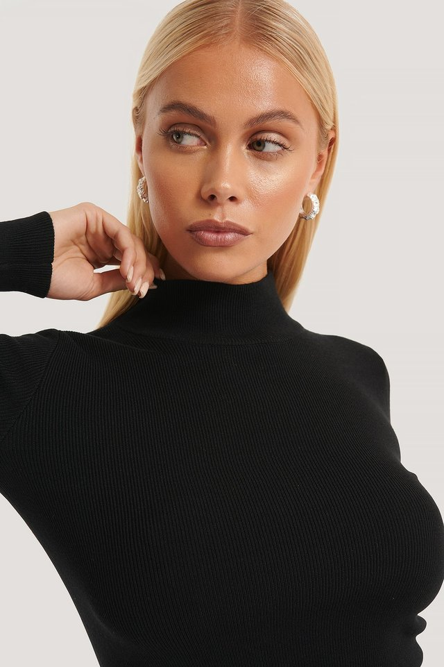Ribbed Polo Cropped Knitted Sweater Black