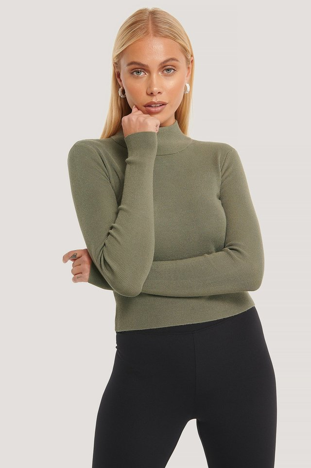 Ribbed Polo Cropped Knitted Sweater Khaki Green