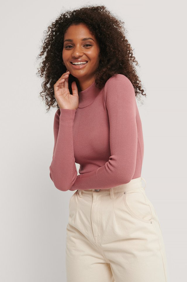 Gerippter Polo-Strickpullover Dusty Pink