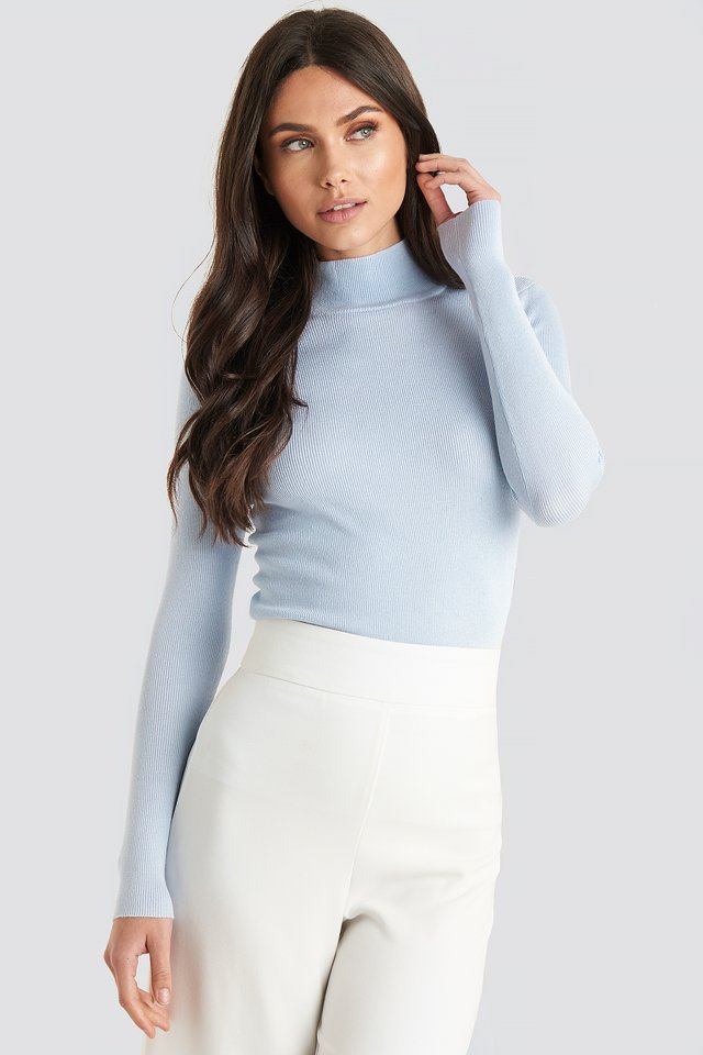 Ribbed Polo Knitted Sweater Light Blue