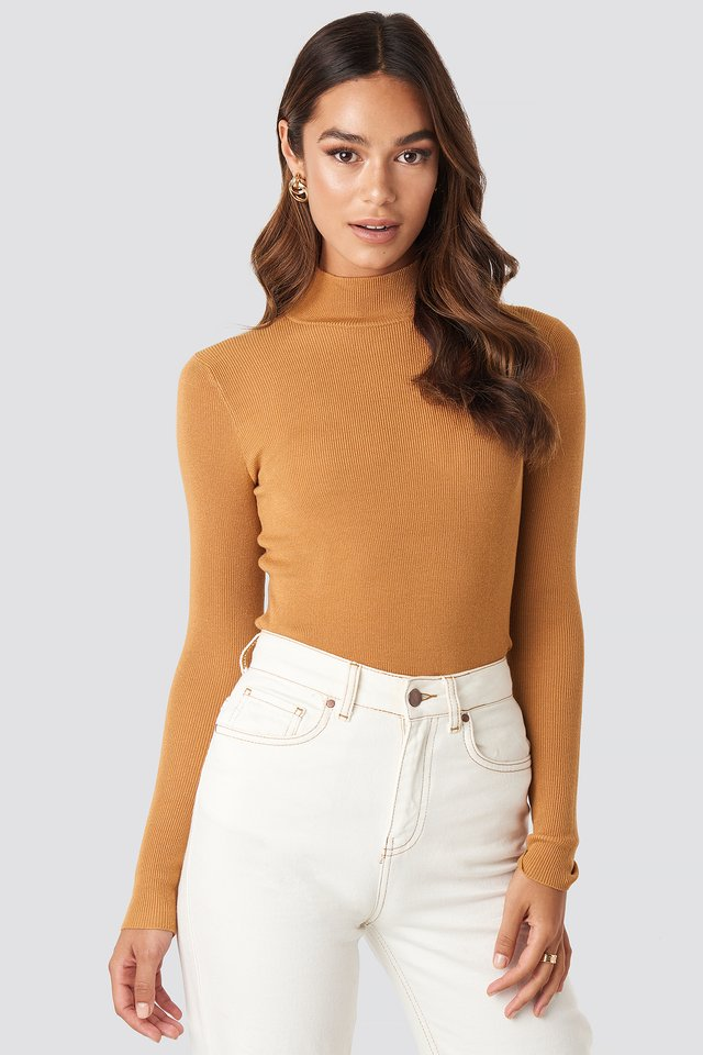 Ribbed Polo Knitted Sweater Golden Sand