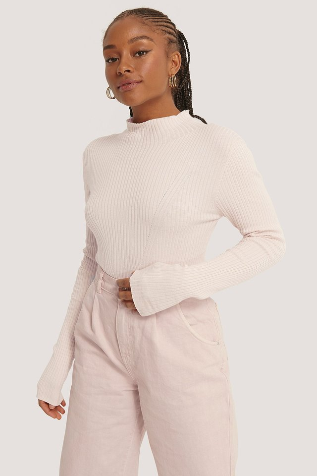 Ribbed Polo Neck Sweater Light Pink