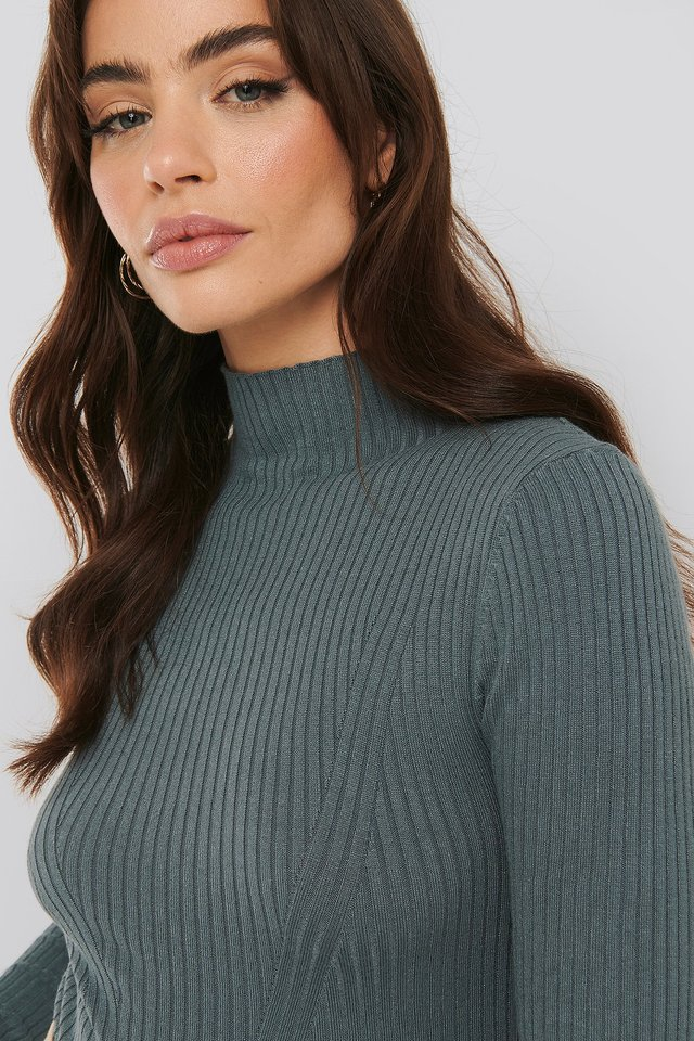 Ribbed Polo Neck Sweater Dusty Dark Blue
