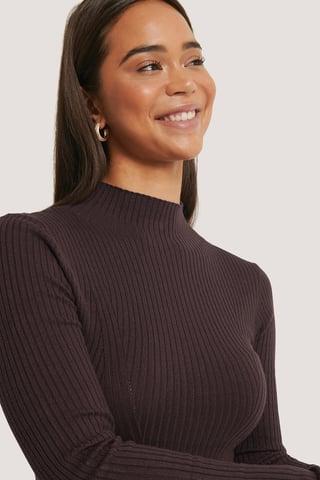 Dark Plum Ribbed Polo Neck Sweater