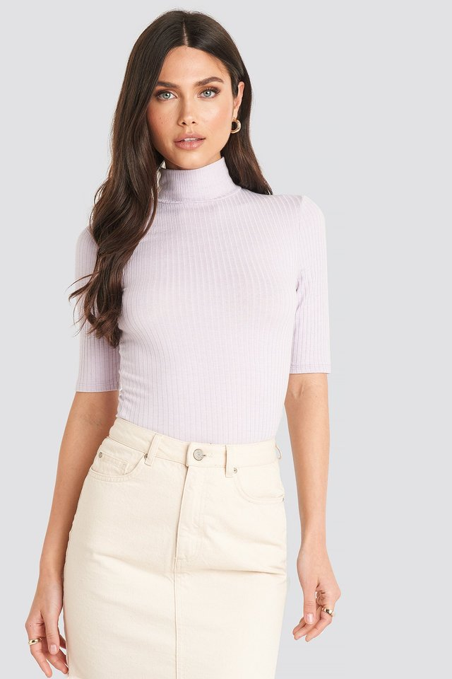 Dusty Light Purple Ribbed Polo Short Sleeve Top
