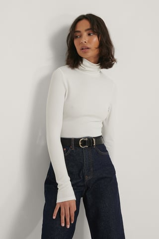 Offwhite Ribbed Polo Top
