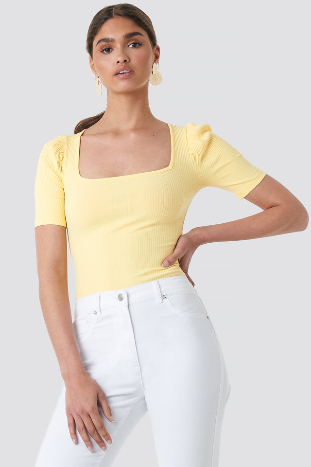 Ribbed Puff Short Sleeve Top Yellow