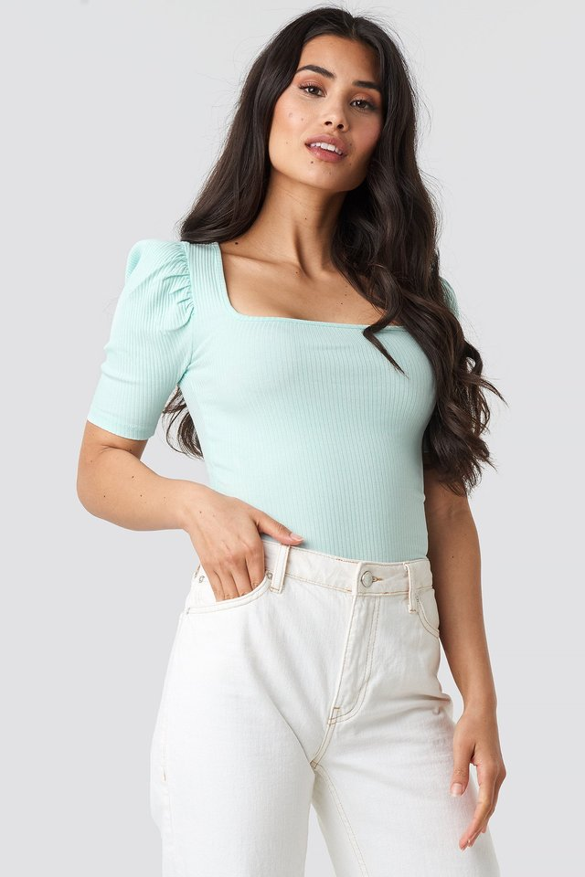 Ribbed Puff Short Sleeve Top Pastel Blue