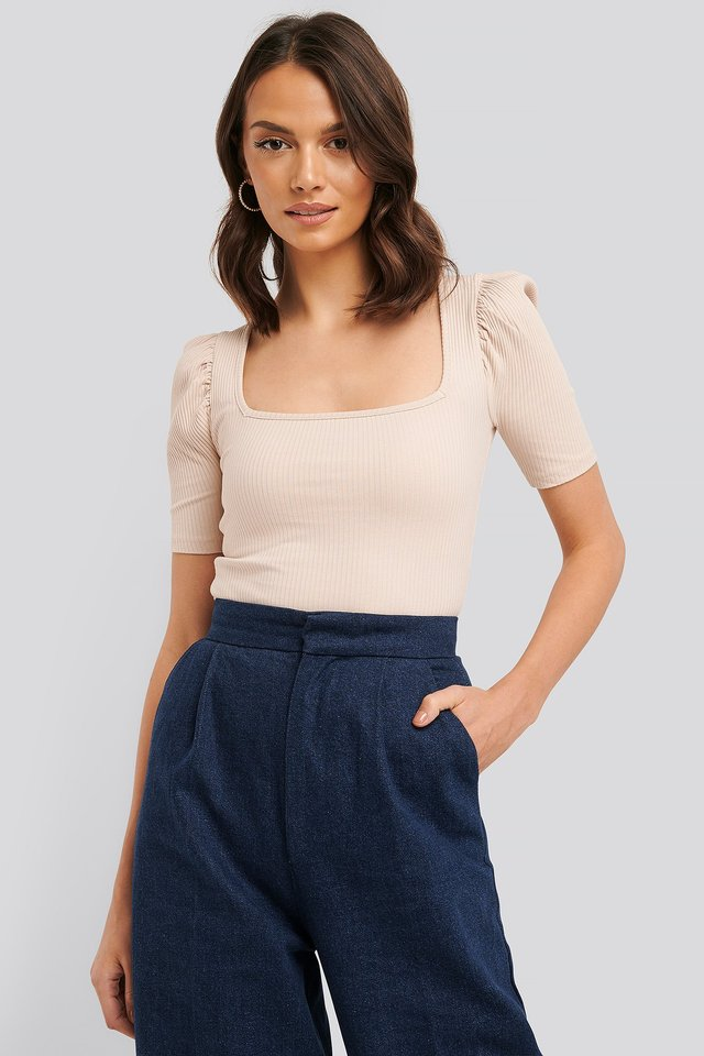 Ribbed Puff Short Sleeve Top Dusty Light Beige