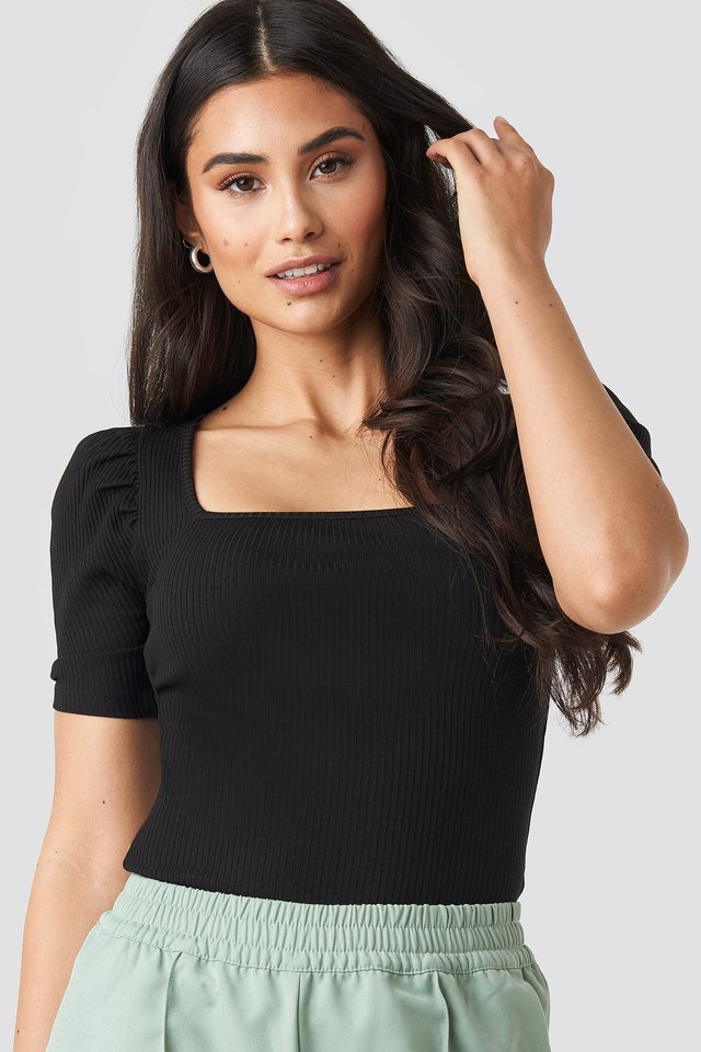 Ribbed Puff Short Sleeve Top Black