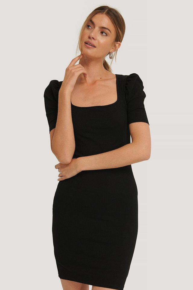 Ribbed Puff Sleeve Dress Black