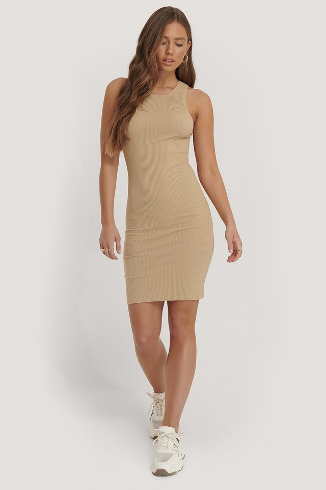 Ribbed Racerback Dress Beige