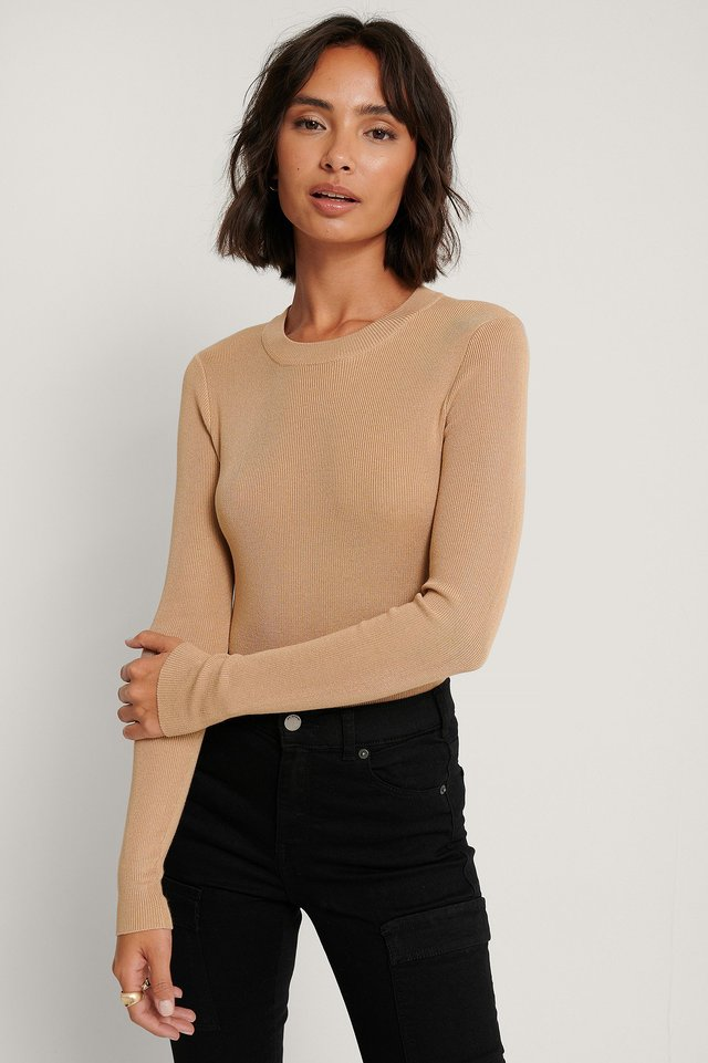 Beige Ribbed Round Neck Knitted Sweater