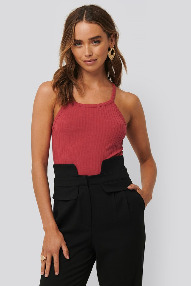 Ribbed Round Neck Singlet Washed Red
