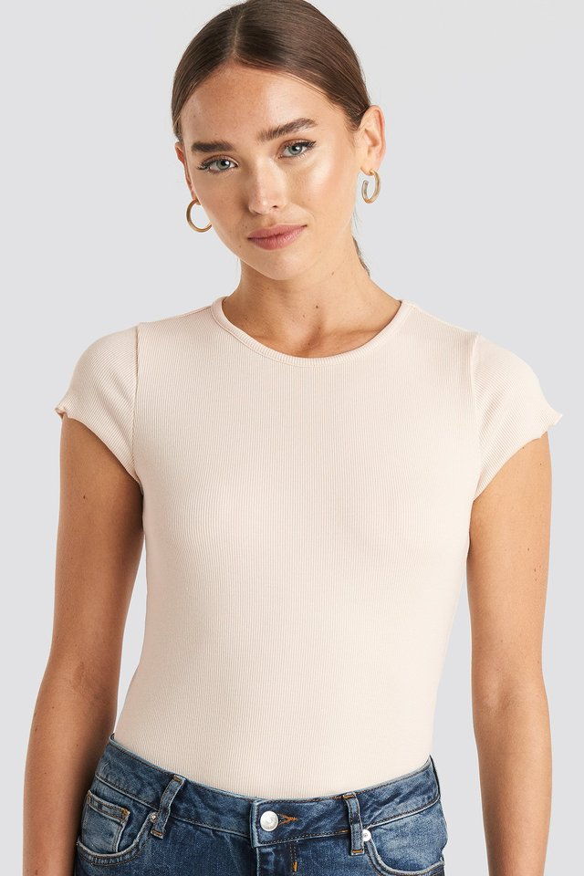 Ribbed Round Neck T-shirt Off White